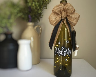 Mr&Mrs Black and White Wine Bottle Light / Fairy Lights Inside Wine Bottle / Battery Operated / Couples Gift / Wedding Gift / Wine Gift