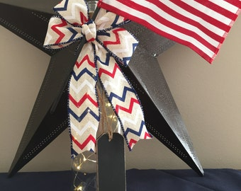 4th of July/Red White and Blue/Wine Bottle Light/Patriotic/Country Home Decor/Cordless Lamp /Recycled Bottle/American Flag/Wine Lover Gift