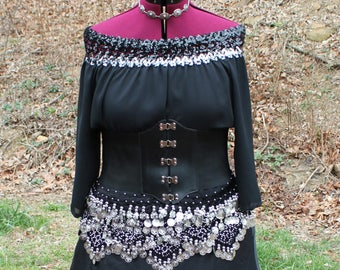 Renaissance 7-Piece Costume, Gypsy, Pirate, Witch, Goth, Size Large