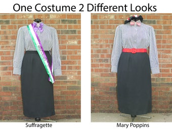 1900s Style 5-Piece Set Mary Poppins Downton Suffragette Vintage Clothes that look like a Historical Figure or Book Character