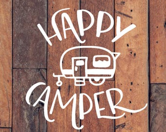 Happy Camper   Happy Camper Decal   Camping Decal   RV Decal   Car Decal   Car Sticker   Camping Decal   Bumper Sticker