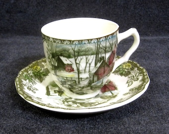 """Espresso Coffee Set Friendly Village Johnson Brothers England Demitasse Cup and Saucer Set, """"The Ice House"""""""