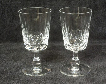 Pair of Signed Edinburgh Crystal, Appin Pattern Sherry Glasses, Liqueur Glasses, Vertical and Criss-cross Cuts, Made in Edinburgh, Scotland