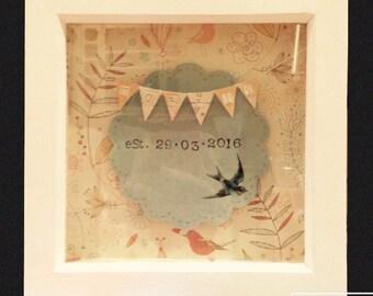 Birdsong Name Box: Customised Wedding Name Gift Frame