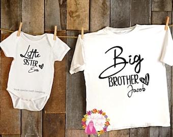 Sibling Tshirts, Matching Sibling Set, Brother Sister Tshirt, Clothing Gift Set, Big brother little sister, Big sister little brother