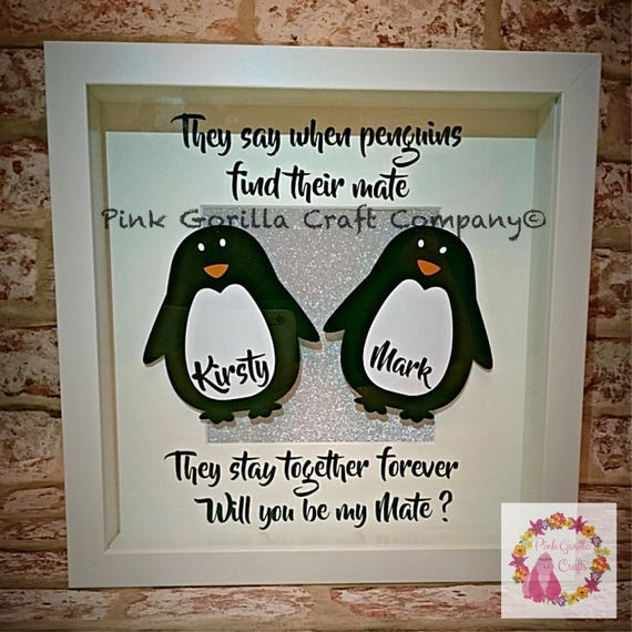 Will You Marry Me Gift Wedding Gift Penguin Frame Bear Etsy