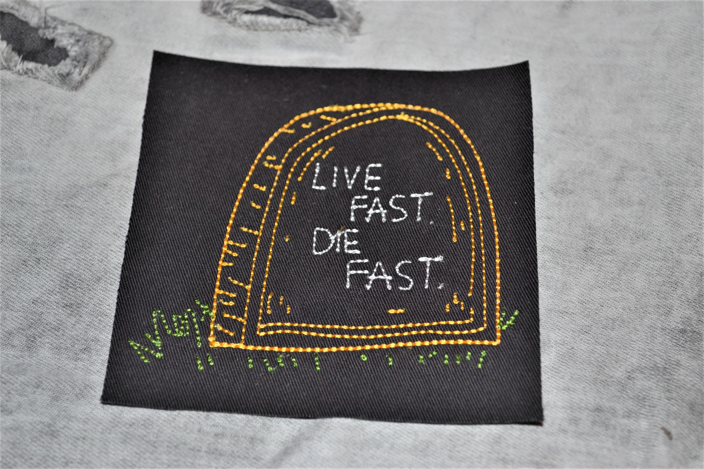 Live Fast Die Fast GG Allin Beer Embroidered Punk Rock Alternative Drunk  Biker Iron On Patch