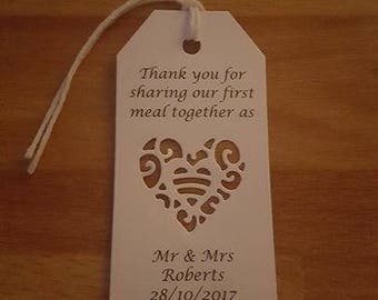 White personalised first meal tags heart design x 30