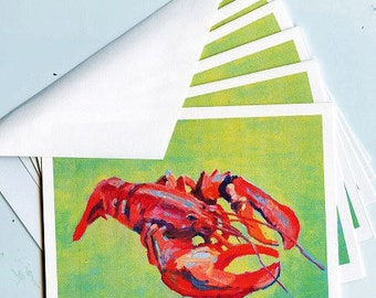 Personalized  Note Cards  Nautical  Lobster  High Quality  12 Note Cards  Thank You Notes  Boat  Stationary  Maine