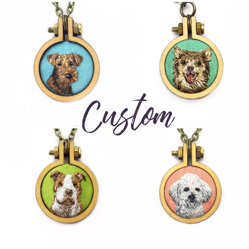 Custom Embroidery Pet Portrait Jewelry// Hand Embroidered Custom Pet  Pendant Necklace, Keychain or Pin