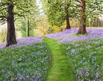 "Bluebell Path | Original Landscape Oil Painting | 8""x8"" Cradled Panel"