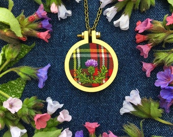Thistle on Tartan  //Miniature Hand Embroidered Necklace// Embroidery Pendant