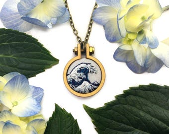 The Great Wave//Hokusai Miniature Embroidery// Pendant Necklace, Pin or Keychain