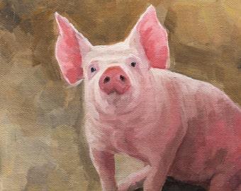 "Hog Heaven | Original Pig Oil Painting | 5""x7""  Linen Panel"