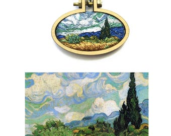 Wheatfield with Cypresses// Vincent Van Gogh Miniature Embroidery// Pendant Necklace