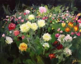"Dahlia Garden | Original Floral Oil Painting | 8""x10"" Cradled Panel"