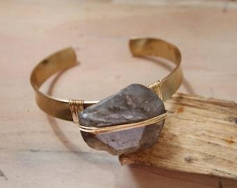 Wire wrap C Cuff Bracelet Brass
