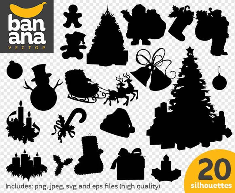 Sale Christmas Ornament Silhouettes Png Jpg Svg Eps Files High Resolution Bv Ce 0001