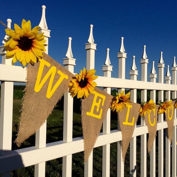 Welcome Sunflower Banner Custom Baby Shower Bridal Shower