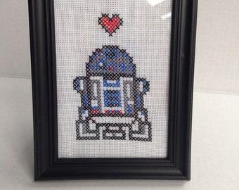 Cross Stitch Framed R2D2
