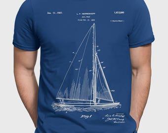 Sailboat T-Shirt, Herreshoff Sailboat T Shirt, Sailboat Patent Sailing Gift For Sailor, Nautical Gift, Vintage Sail Boat Clothing P142