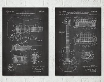 Gibson Les Paul Guitar Art Decor, Fender Guitar Poster, Electric Guitar Boys Room Art, Music Decor, Music Nursery, Guitar Teacher Gift S034