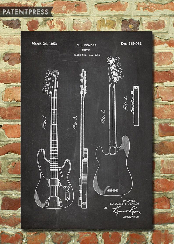 85b74469f493c Décor de guitare électrique, guitare Fender Wall Art, cadeau pour cadeau de  joueur de guitare, musique cadeau, impression brevet, Fender guitare ...