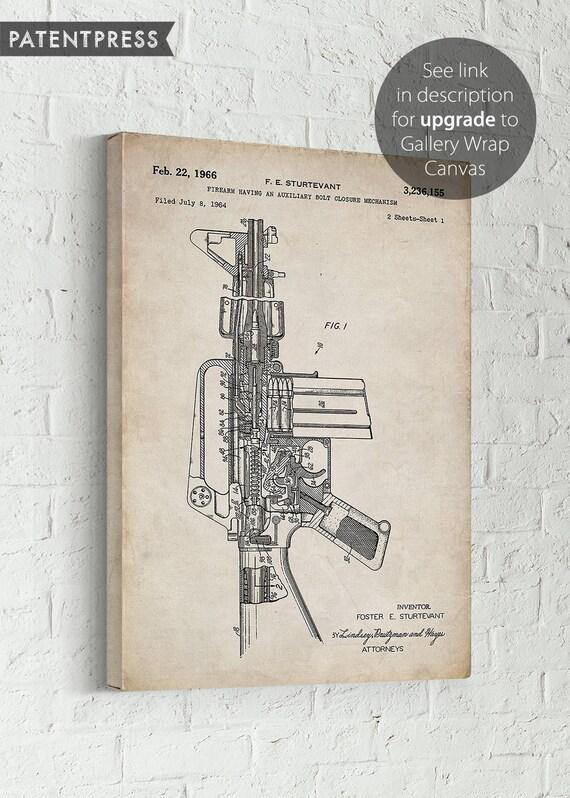 Firearm 1966 Blueprint,Military Grade,Man Cave Decor M16 Rifle Patent Art Print