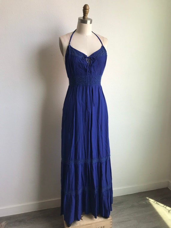 Blue Indigo Crochet Prairie Maxi Dress Sz XS-S
