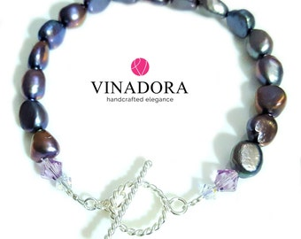 Purple Freshwater Pearl Bracelet with Swarovski Crystals & Sterling Silver Toggle Clasp Women's Gift Valentines