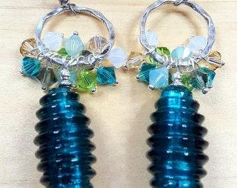 Swarovski Cluster Earrings - green- statement earrings - glass foil beads - women's earrings - swarovski crystals - women's jewellery - gift