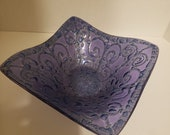 Higgins Glass Bowl Square Dish Blue Purple Signed in Gold