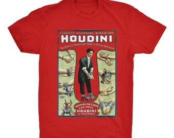 Houdini T-Shirt. Magician T-Shirt. Magic T-Shirt. Poster Print Tee. 100% Ringspun Cotton Soft Tee.