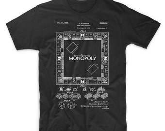 4a49587a Monopoly Board Game Shirt. Printed on Soft Cotton Tee, Comfy. Gift Idea.  Monopoly Blueprint T-Shirt. Cool T-Shirt.