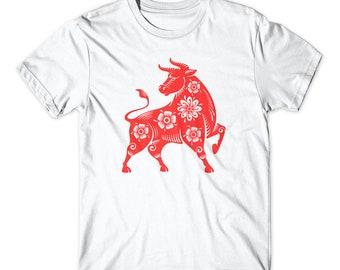 New Year Tee Custom with A Name Shirt ADULT Chinese New Year V-Neck CNY Shirt Holiday Shirt Chinese OX Shirt Mom Shirt Matching Shirt
