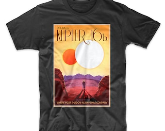 Kepler 16b T-Shirt. NASA's Visions of the Future. Poster Art Tee. Solar System Space Travel. Soft Cotton Tee.  Black, White, Red, or Gray.