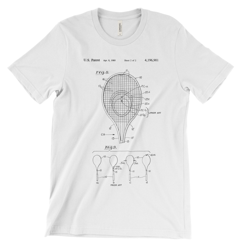 Tennis Racket Patent T-shirt Soft Cotton Comfy. Retro Tennis Shirt Clothing. Patent Art Blueprint Tennis Gift. In Black White Red Or Gray Unisex Tshirt