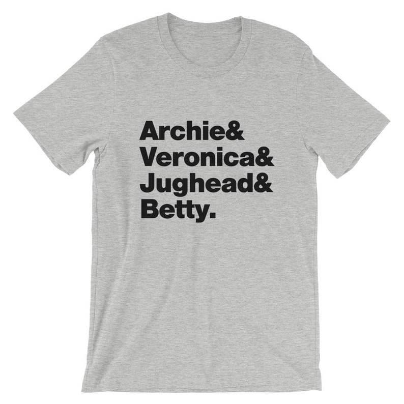 c2e577dd4a84e Archie Comics T-Shirt. Archie Comics Riverdale Archie Veronica Jughead and  Betty Shirt On Yellow, Black, White, Gray or Red Soft Cotton Tee