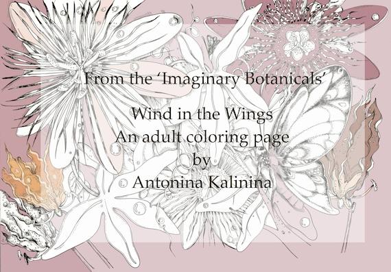 Viento en las alas. Página de adultos para colorear. Mariposas | Etsy