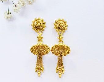 ce1719c34 Genuine 22K Gold Earrings Chandelier Jhumka Hallmark 916 Gorgeous  Craftsmanship