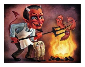 """Sins of Sausage (8 x 10"""") - Fine Art Print by Nouar"""