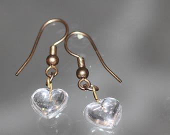 Clear Heart Dangle Earrings