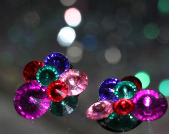 1980's-1990's Multi Color Clip On Earrings