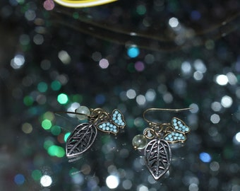 Turquoise Navajo Leaf Butterly Earrings *Excellent Condition