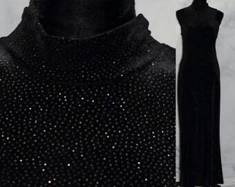 6101042b477 Onyx Nite by Wendye Chaitin Dress Sparkling Black Sequined (10)