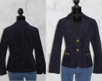 b0490f895 Talbots Petites Cotton Navy Blue Blazer w/ Gold Buttons (8P)