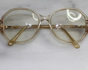 ed6dd1de81 Marchon Blue Ribbon Clear   Gold Frames - Eyeglasses