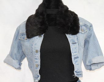 Black Mink Fur Pendant  Charm  Gold Plated Brass Cap  2pcs  tsmp060