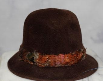 3eb6bc796b0e8 Cavanagh New York Brown Feather Cloche Hat