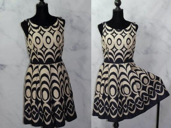 Cream Blue Flare Cotton Flare Dress w/ Pockets (10